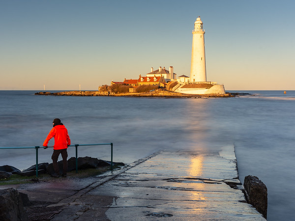 A winter sunset in Whitley Bay