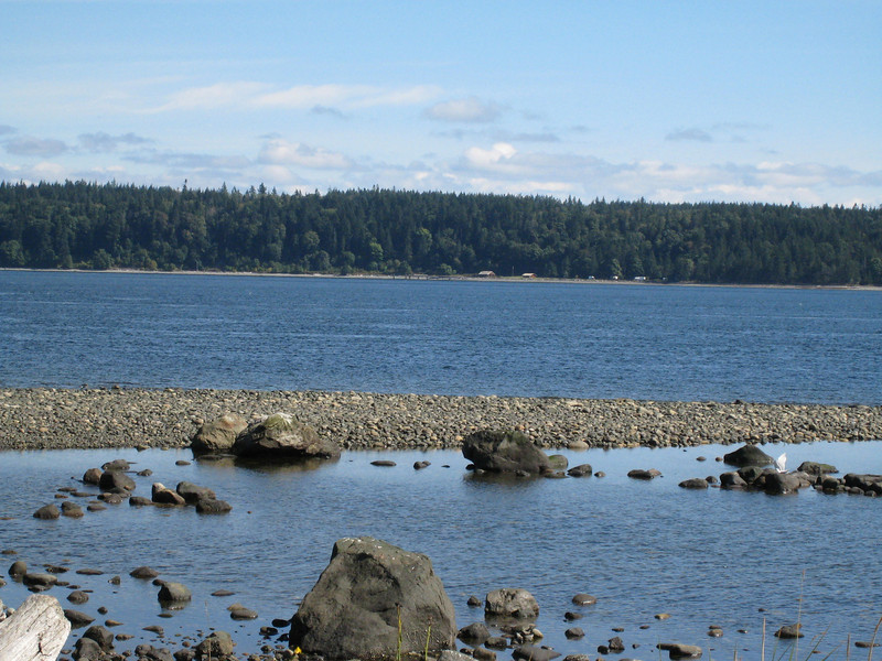 This a view of Quadra Island from the other side of the inside passage - if you look real close, you can see our cabin on the other side.