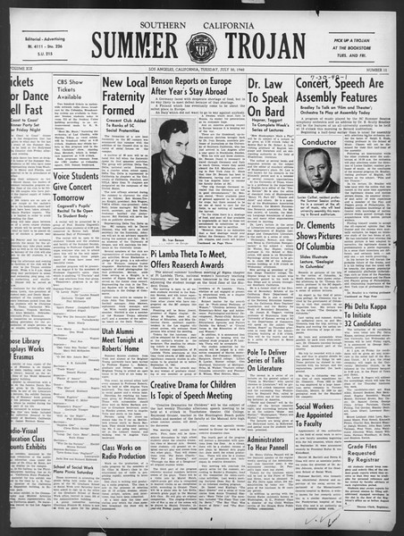Summer Trojan, Vol. 19, No. 11, July 30, 1940