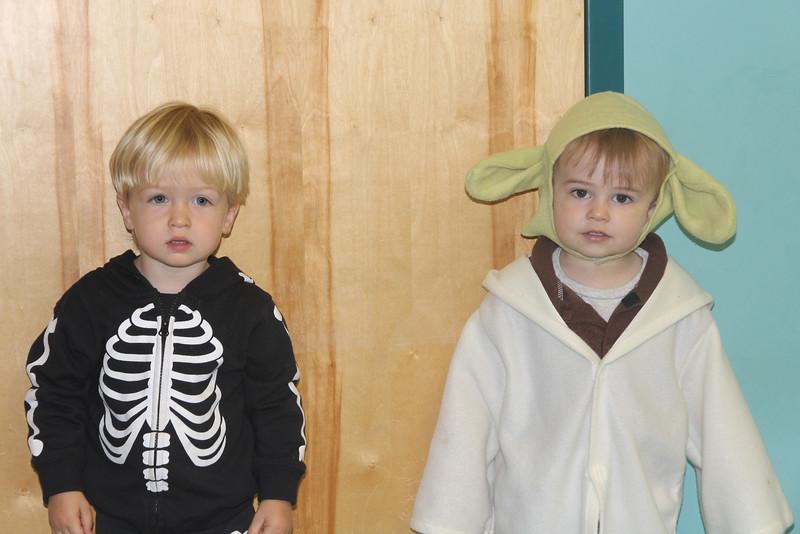 Elliot (skeleton) and Yoda (a classmate)