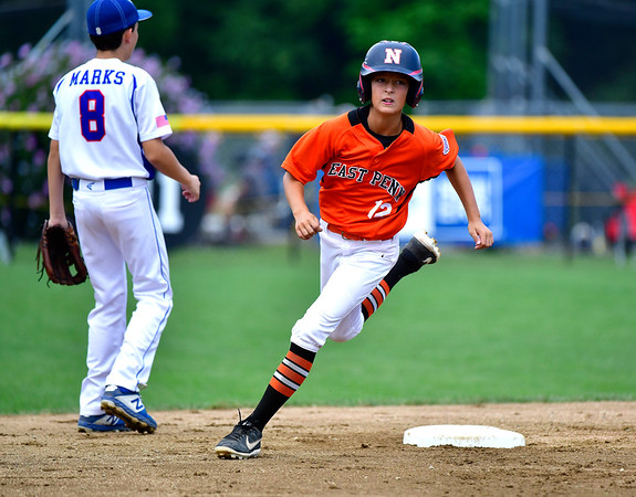 8/6/2019 Mike Orazzi | Staff Pennsylvania's Steel Bayer (12) during their second game of the Little League Mid-Atlantic regional on Aug. 6, 2019 at Breen Field in Bristol, Ct.
