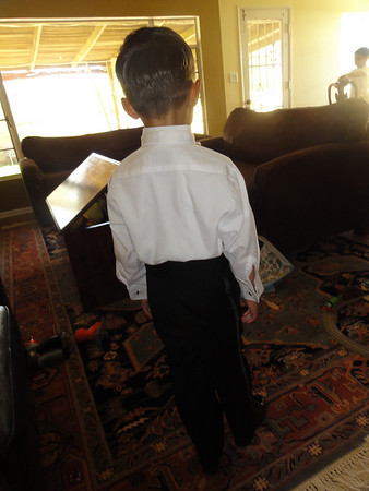 Riley Getting Ready for Nathan's & Elyse's Wedding as the Ring Bearer