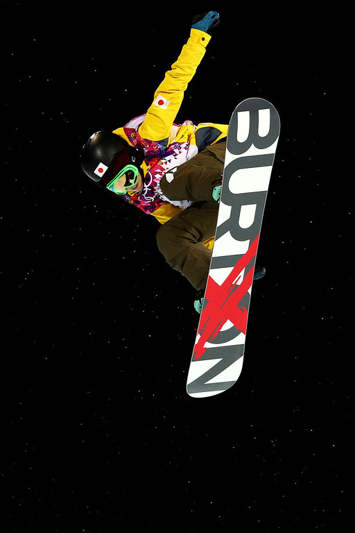 . Rana Okada of Japan competes in the Snowboard Women\'s Halfpipe Finals on day five of the Sochi 2014 Winter Olympics at Rosa Khutor Extreme Park on February 12, 2014 in Sochi, Russia.  (Photo by Cameron Spencer/Getty Images)