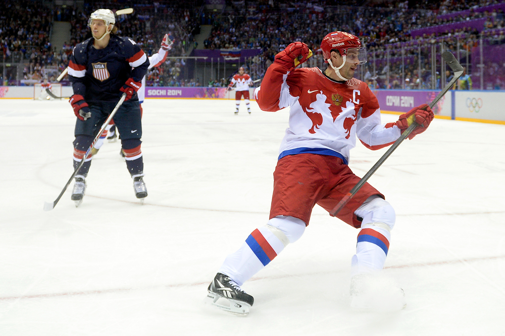 . Pavel Datsyuk (13) of the Russia celebrates his goal against the U.S.A. during the second period of men\'s hockey action at Bolshoy arena. Sochi 2014 Winter Olympics on Saturday, February 15, 2014. (Photo by AAron Ontiveroz/The Denver Post)