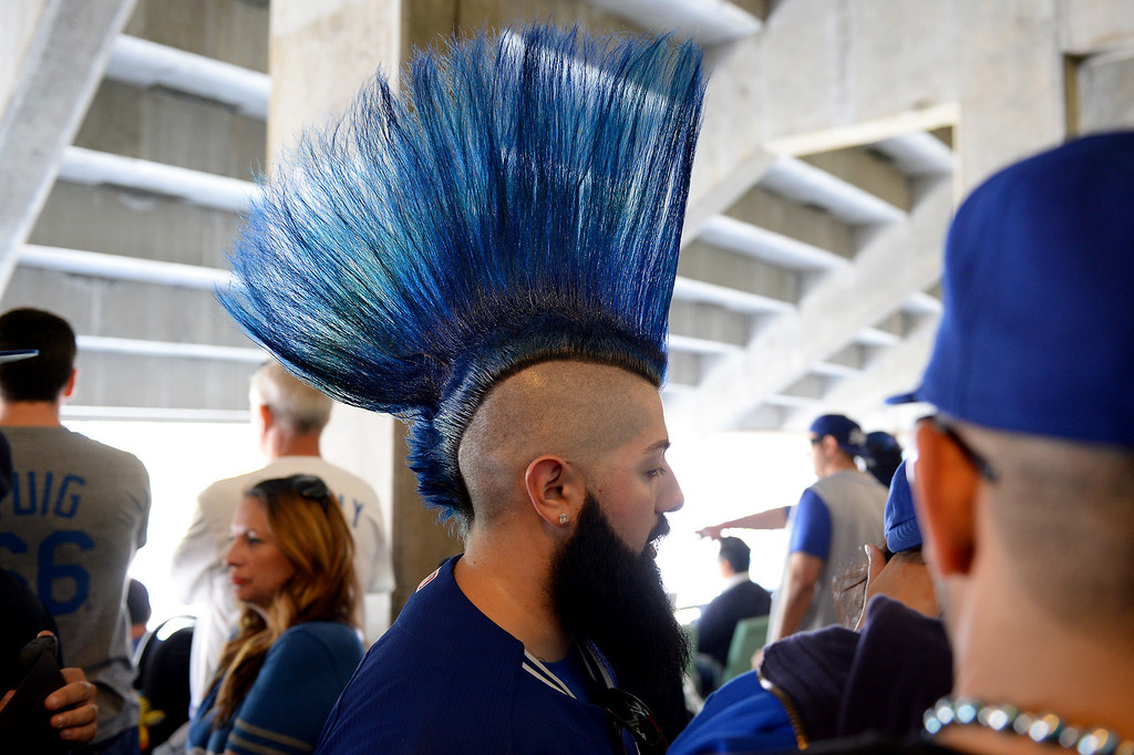 . Robert Rocha, of Echo Park, sports a blue mohawk at the Dodgers home opener, Friday, April 4, 2014, at Dodger Stadium. (Photo by Michael Owen Baker/L.A. Daily News)