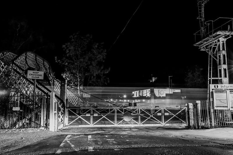 Brundall Level Crossing by Night