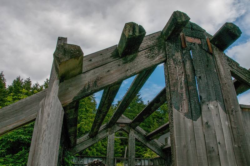 Remaining pillars of old structure in Skidegate, British Columbia