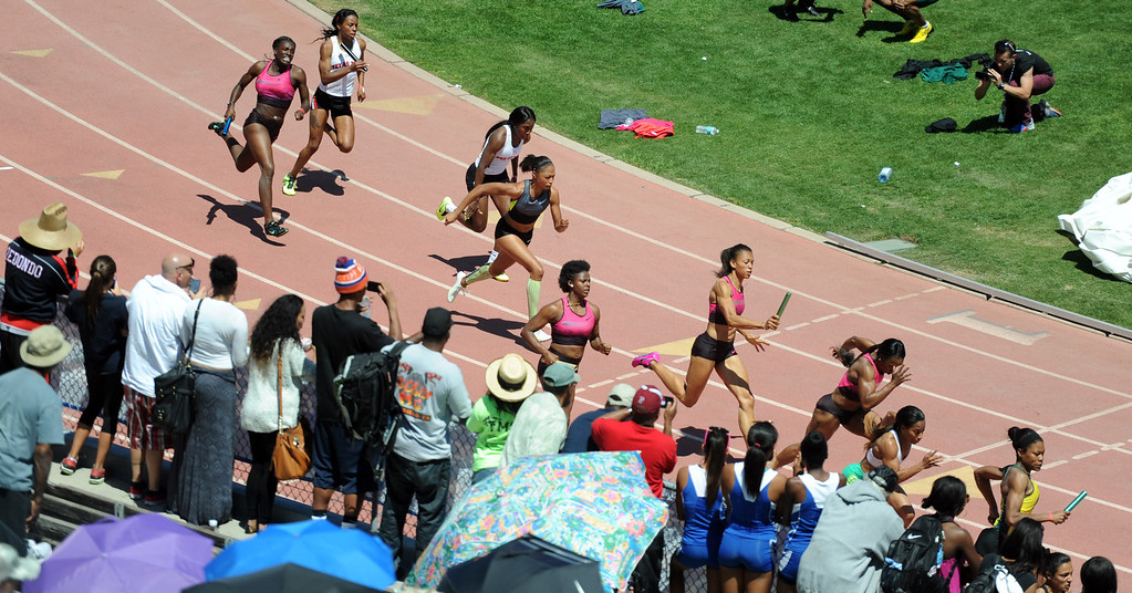 . Athletes including Olympian Alyson Felix compete in the 4x100 Invitational Elite during the Mt. SAC Relays in Hilmer Lodge Stadium on the campus of Mt. San Antonio College on Saturday, April 20, 2012 in Walnut, Calif.    (Keith Birmingham/Pasadena Star-News)