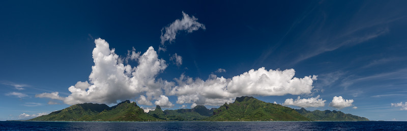 The once volcano of Moorea slowly sinking into the tropical waters of the South Pacific