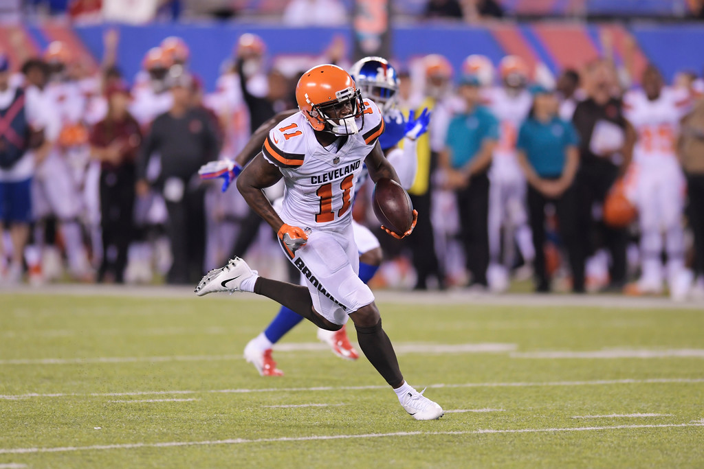 . Cleveland Browns wide receiver Antonio Callaway (11) runs for a touchdown during the second half of a preseason NFL football game against the New York Giants Thursday, Aug. 9, 2018, in East Rutherford, N.J. (AP Photo/Bill Kostroun)
