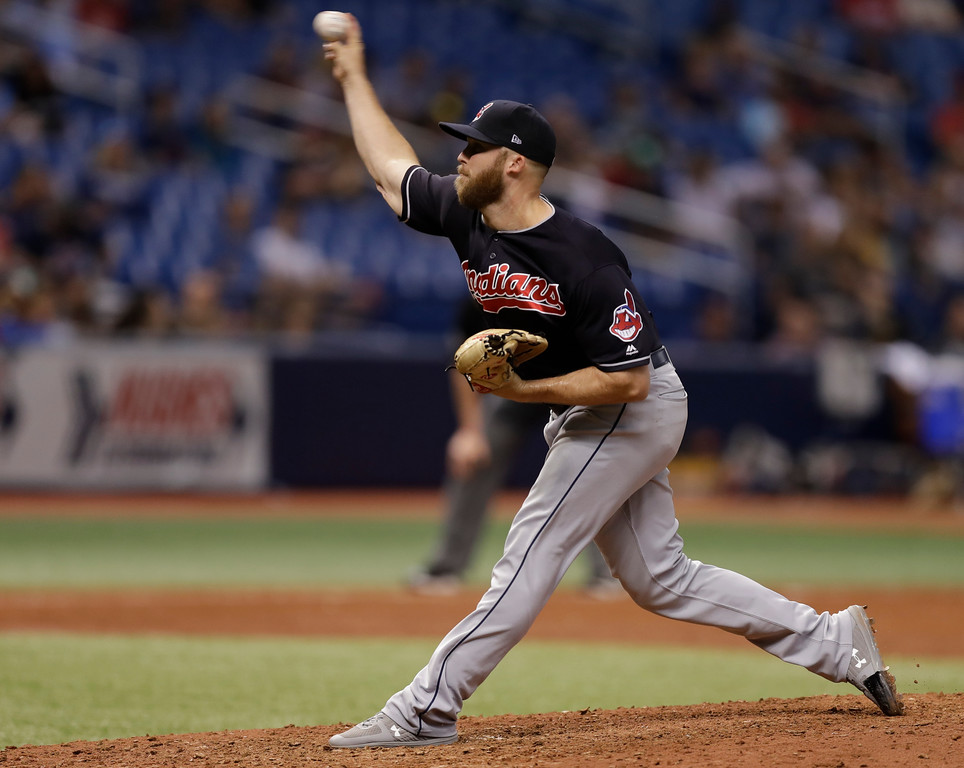 . Cleveland Indians pitcher Cody Allen during the ninth inning of a baseball game against the Tampa Bay Rays Tuesday, Sept. 11, 2018, in St. Petersburg, Fla. (AP Photo/Chris O\'Meara)