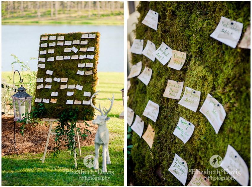 Cabin by the lake rehearsal dinner | green moss board and handprinted cards seating chart | Florida Georgia wedding photography | Elizabeth Davis Photography
