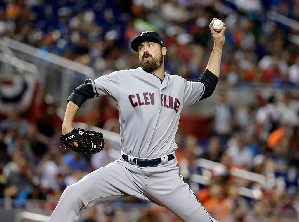 . American League\'s Cleveland Indians pitcher Andrew Miller throws a pitch, during the MLB baseball All-Star Game, Tuesday, July 11, 2017, in Miami. The American League defeated the National League 2-1. (AP Photo/Lynne Sladky)