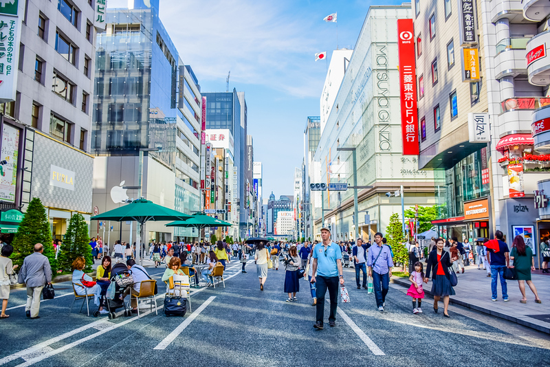 Ginza shopping street. Editorial credit: ParrySuwanitch / Shutterstock.com