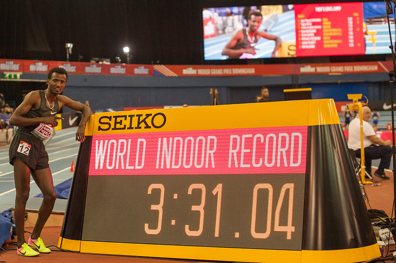 Samuel Tafera the 22 year old Etheopian breaks the World Indoor 1500 metre record clocking a time of 3:31.04 to break El Guerrouj's 1997 mark of 3:31.18