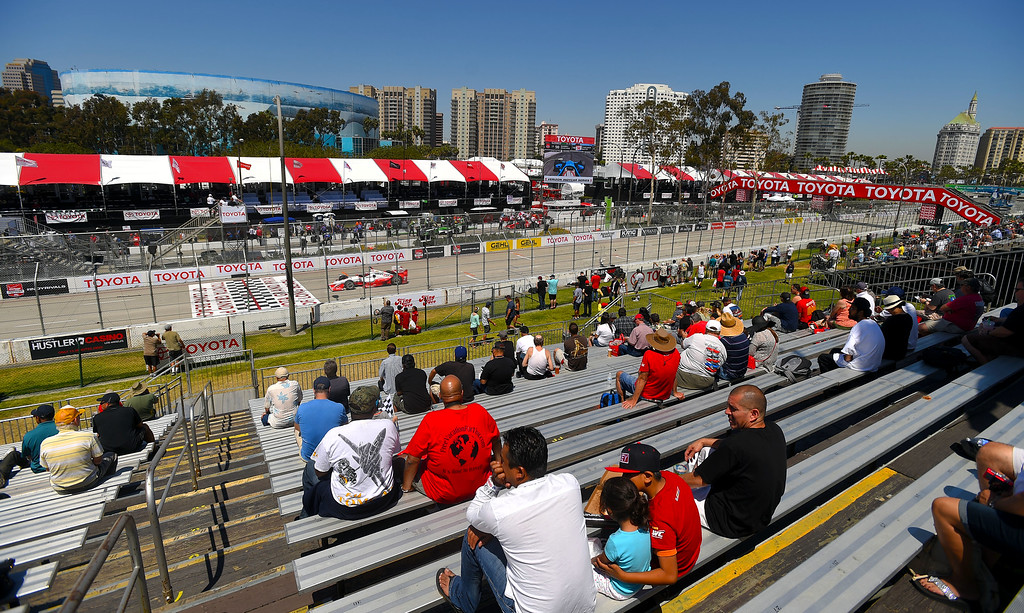. There were pleny of seats available on the front stretch as fans watch the Indy cars practice in Long Beach, CA on Friday, April 17, 2015. The 40th annual Toyota Grand Prix of Long Beach kicked off with practices for all of the racing divisions. (Photo by Scott Varley, Daily Breeze)