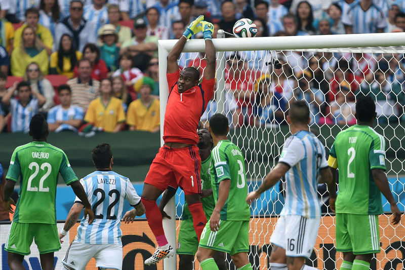 . Nigeria\'s goalkeeper Vincent Enyeama (C) jumps during a Group F football match between Nigeria and Argentina at the Beira-Rio Stadium in Porto Alegre during the 2014 FIFA World Cup on June 25, 2014.  (PEDRO UGARTE/AFP/Getty Images)