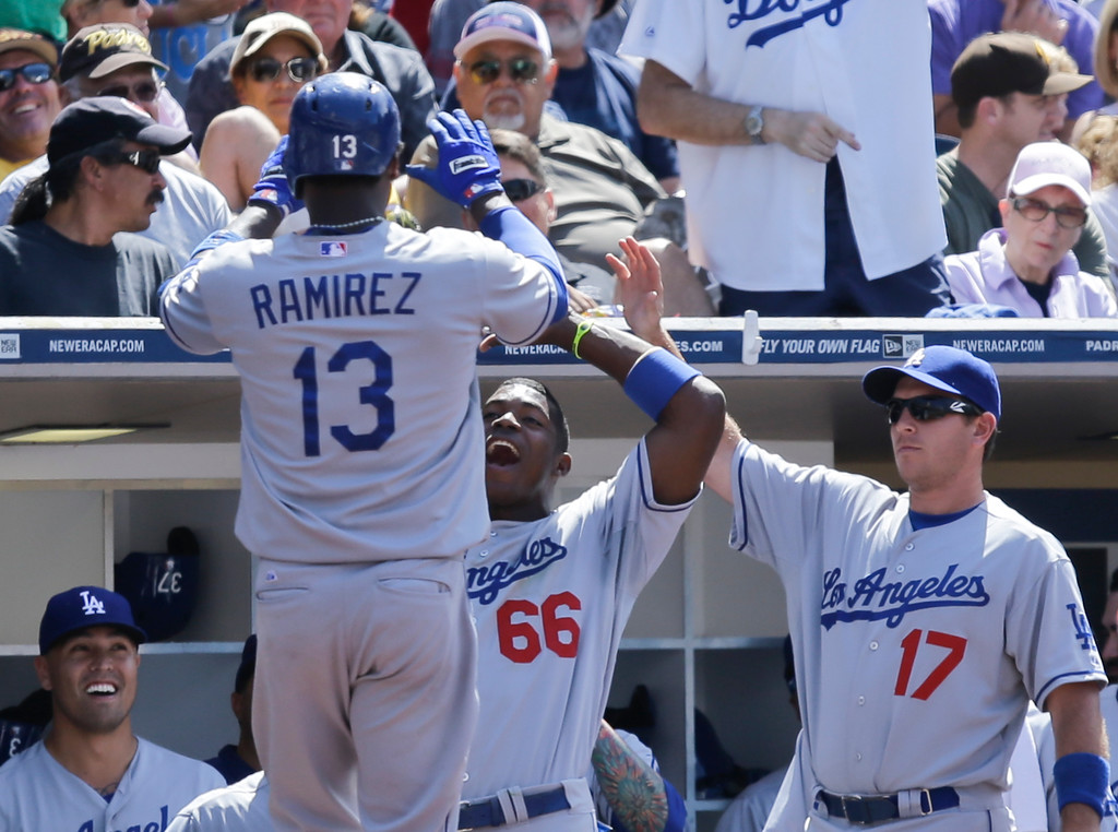 . Los Angeles Dodgers\' Hanley Ramirez (13) is met by teammates, including Yasiel Puig, center, following his ninth-inning home run against the San Diego Padres in a baseball game won by the Dodgers 3-1 in San Diego, Sunday, June 23, 2013. (AP Photo/Lenny Ignelzi)