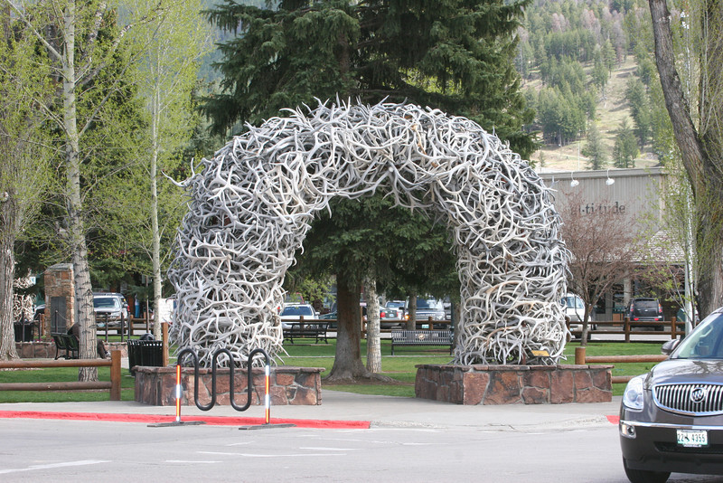 Town Square in Jackson with elk-antler arches at each corner (about 2,000 in each arch)