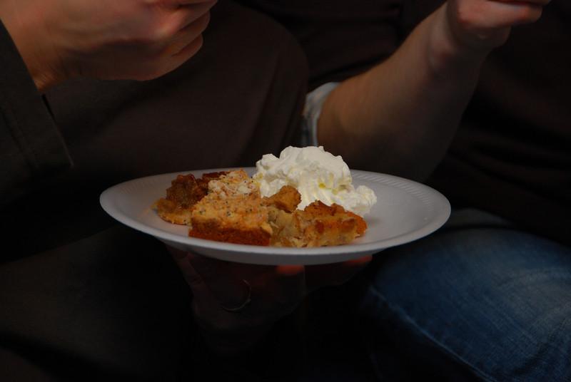 Dessert! That's bread pudding, a lemon poppy cake and a pecan pie.  YUM!