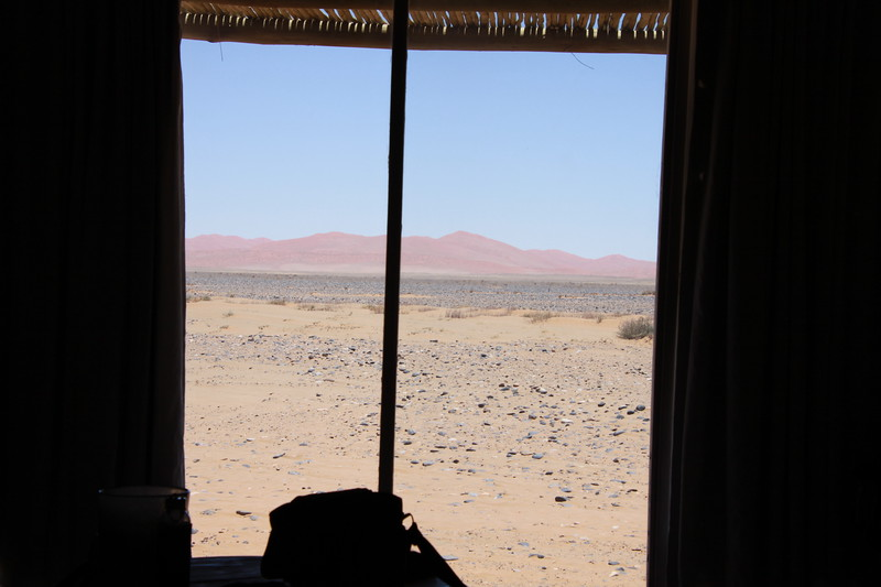 Desert view from our bed in Little Kulala Camp