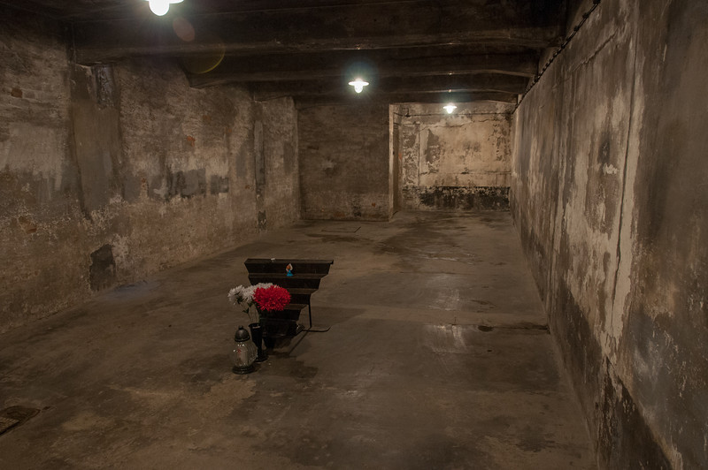 Inside the gas chamber at Auschwitz Birkenau in Krakow, Poland