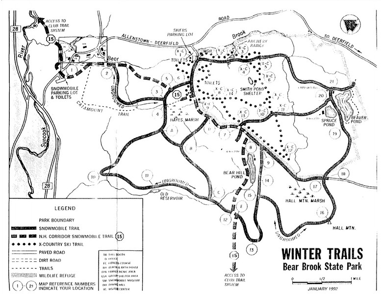 Bear Brook State Park (Winter Trail Map)