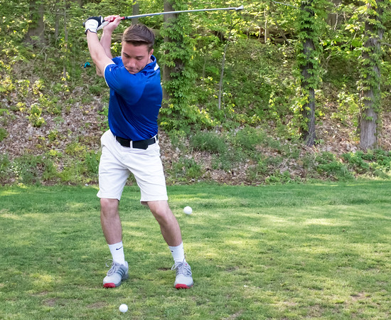 05/10/18 Wesley Bunnell | Staff New Britain golf defeated Bristol Eastern 212-219 at Stanley Golf Course on Thursday afternoon. Bristol Eastern's Brendan McMahon with his tee shot on the eighth hole.