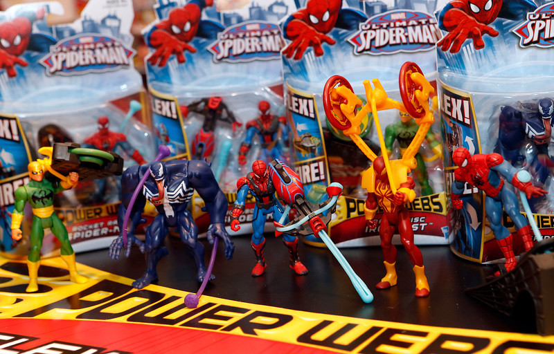 . The line of Hasbroís ULTIMATE SPIDER-MAN POWER WEBS FEATURE FIGURES ó based on the Ultimate Spider-Man TV show and each including a stretchy accessory to power the figureís action ó is displayed in the companyís showroom at the American International Toy Fair, Saturday, Feb. 9, 2013, in New York. (Photo by Jason DeCrow/Invision for Hasbro/AP Images)