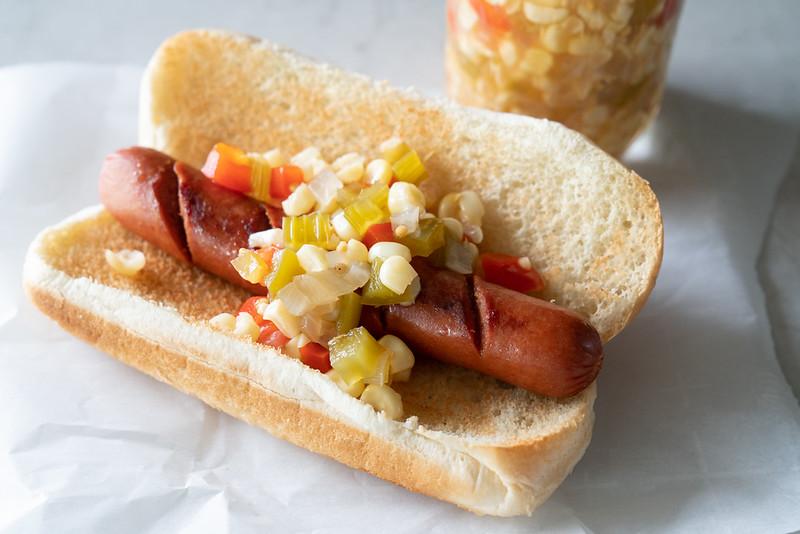 Hot Dog! Relish on hot dog