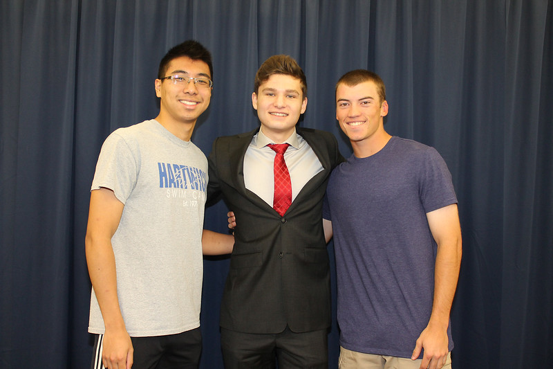 From left to right: Kingston High School Salutatorian Michael Liu, Valedictorian Finnegan Pike, and Principal's Award recipient Matthew Simonetty.