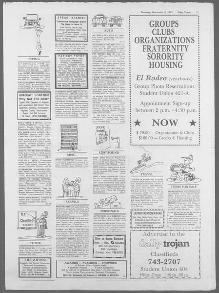 Daily Trojan, Vol. 105, No. 43, November 03, 1987