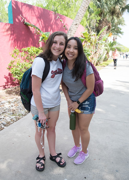 Kaylee Alvenda (right) and Katlyn McGram are happy to be back on campus after Spring Break.