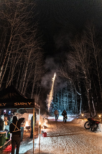 At the final checkpoint, volunteers shot off fireworks to send off an athlete embarking on their final 26 mile push to the finish.