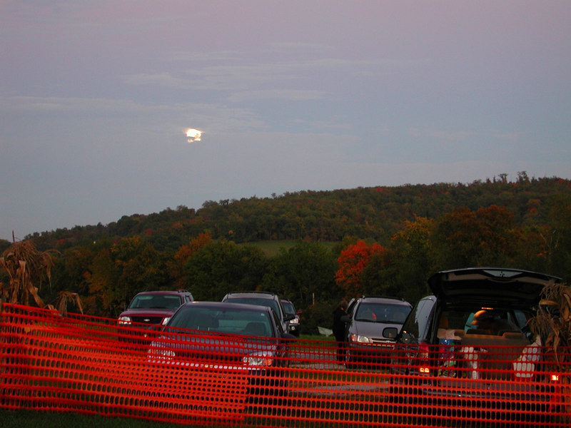 This is an image of the Full Harvest Moon rising over over the farm that evening.