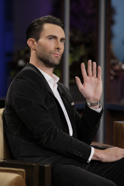 . THE TONIGHT SHOW WITH JAY LENO -- Episode 4554 -- (EXCLUSIVE COVERAGE) -- Pictured: Singer Adam Levine during a commercial break on October 28, 2013 -- (Photo by: Paul Drinkwater/NBC/NBCU Photo Bank via Getty Images)
