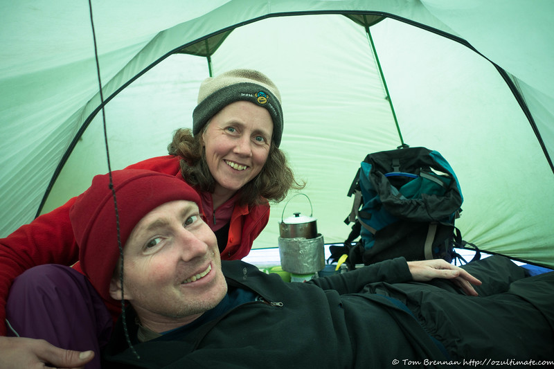 One advantage of a large tent - cooking out of the wind