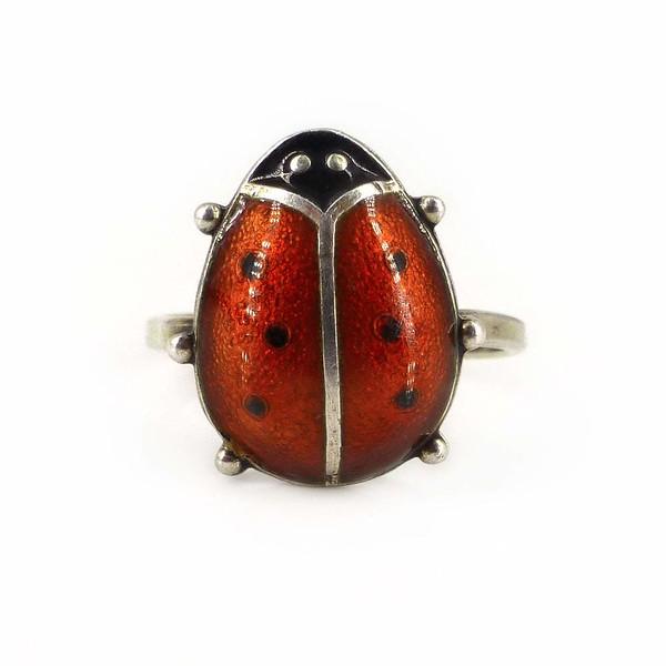Vintage David Andersen Sterling Silver Ladybird Guilloché Enamel Ring