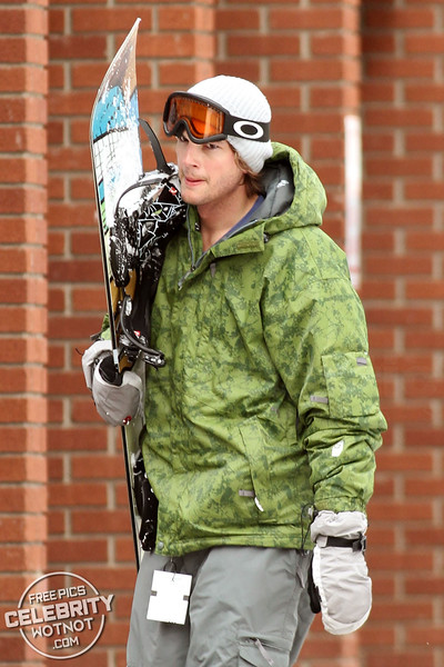 EXCLUSIVE: Ashton Kutcher Hits The Mountains Snowboarding With Danny Masterson In Park City, Utah