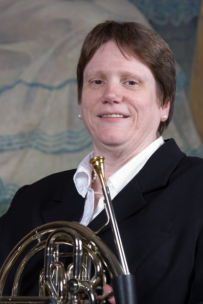 Mary Welliver, French horn -- Homewood Brass Quintet, shown at Shriver Hall on the Homewood campus, The Johns Hopkins University