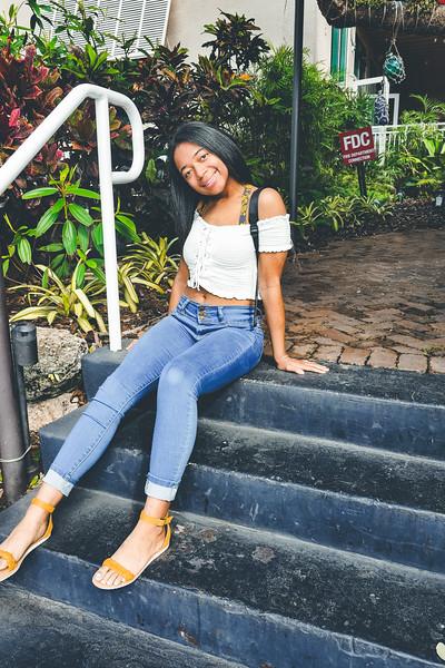 Yasmin Dudley in front of Peacock Garden Café - Coconut Grove