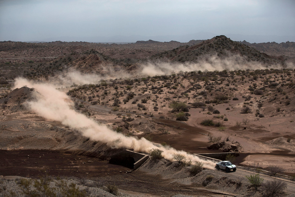 . X-Raid driver Guerlain Chicherit and co-pilot Alexandre Winocq, both of France, race during the third stage of the Dakar Rally 2015 between the cities of San Juan and Chilecito, Argentina, Tuesday, Jan. 6, 2015. (AP Photo/Felipe Dana)