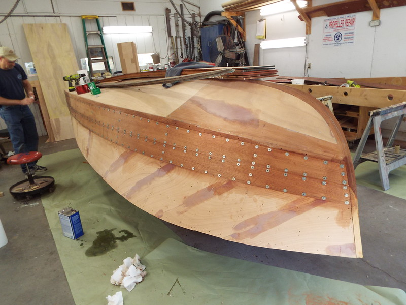 Front view of the first two port planks installed.