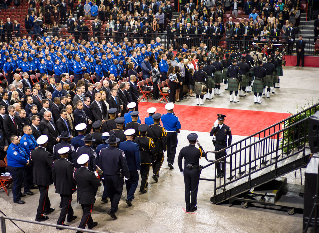 . The memorial service for slain TSA officer Gerardo Hernandez at the Los Angeles Sports Arena Tuesday, November 12, 2013.  A public memorial was held for Officer Hernandez who was killed at LAX when a gunman entered terminal 3 and opened fire with a semi-automatic rifle.  ( Photo by David Crane/Los Angeles Daily News )