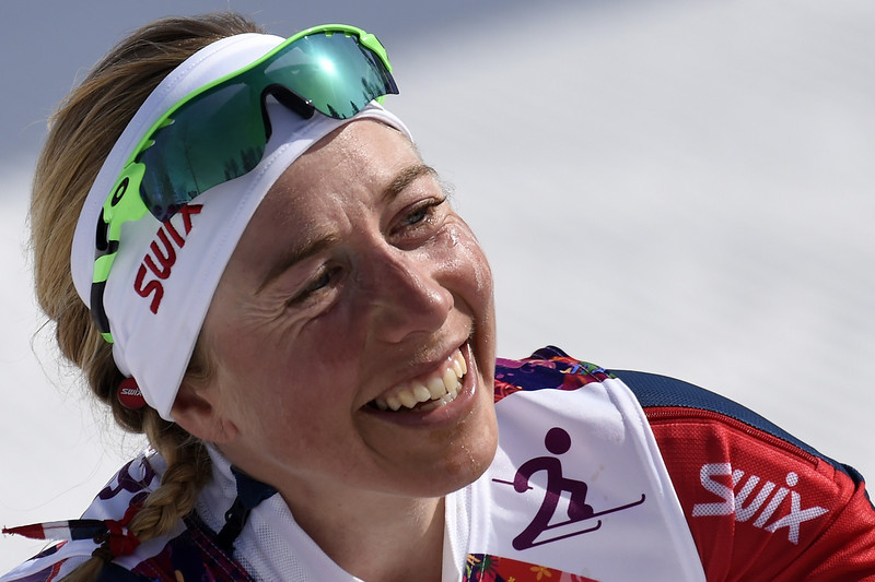 . Bronze medalist Norway\'s Kristin Stoermer Steira celebrates her win in the Women\'s Cross-Country Skiing 30km Mass Start Free at the Laura Cross-Country Ski and Biathlon Center during the Sochi Winter Olympics on February 22, 2014, in Rosa Khutor, near Sochi.  (ODD ANDERSEN/AFP/Getty Images)