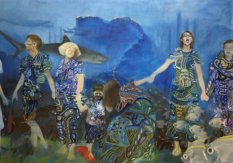 """Human Chain"" (oil) by Michaela Lozada"