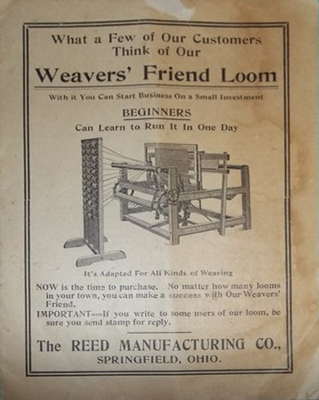 Advertisement for the loom used in the rug making process at the Self Master Colony.