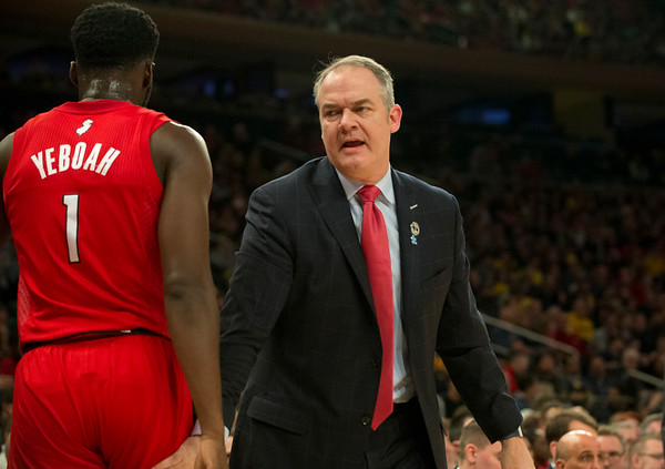 02/01/20 Wesley Bunnell | StaffrrRutgers University men's head basketball coach Steve Pikiell speaks with forward Akwasi Yeboah (1) during a game against the University of Michigan on Saturday Feb. 1, 2020.
