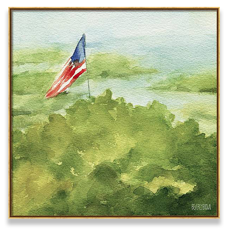 Cape Cod Beach with American Flag Canvas Painting Print