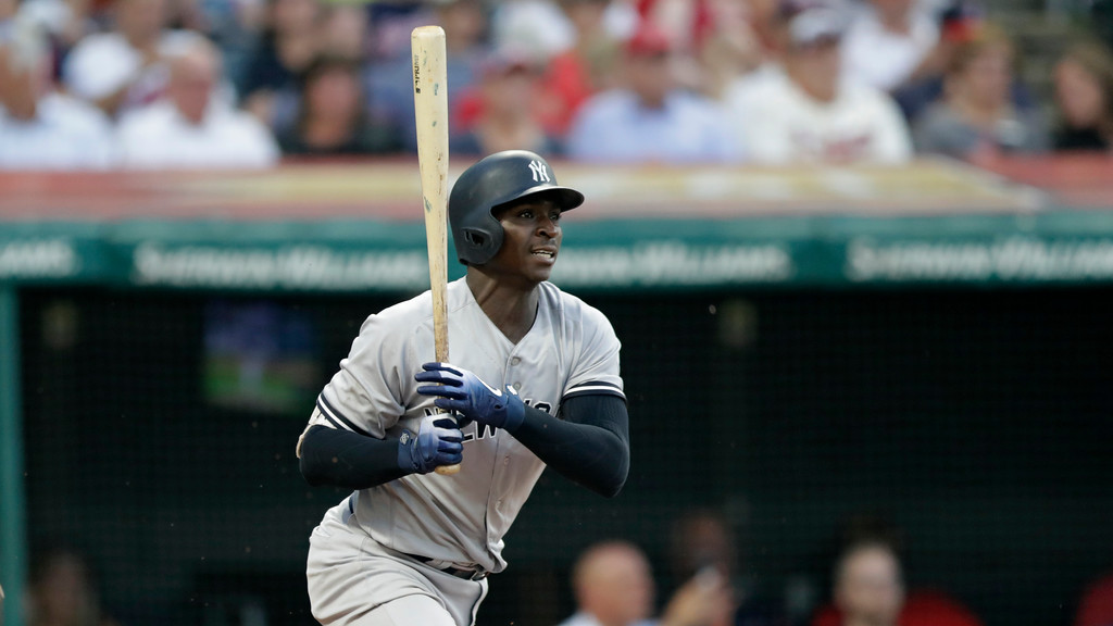 . New York Yankees\' Didi Gregorius hits against the Cleveland Indians in the fifth inning of a baseball game, Thursday, July 12, 2018, in Cleveland. (AP Photo/Tony Dejak)